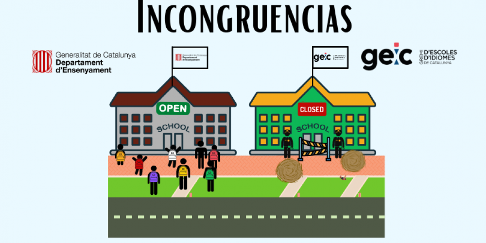 Las escuelas oficiales de idiomas que gestiona el Departament d'Educació están abiertas y las escuelas de idiomas privadas no. ¿Encuentras las diferencias? No las hay
